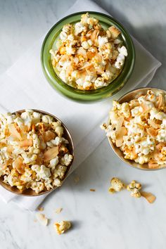 Toasted Coconut Kettle Corn Popcorn via Aida Mollenkamp Vegan Snacks, Vegan Desserts, Healthy Snacks, Vegan Recipes, Snack Recipes, Healthy Eating, Delicious Desserts, Kettle Corn Popcorn, Toasted Coconut
