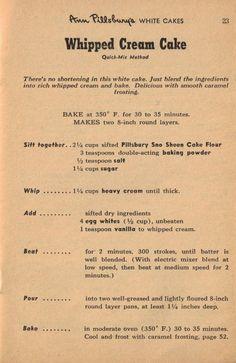 Pillsbury Whipped Cream Cake - no shortening or butter...