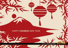 This wallpaper is perfect for using in promos related to China and Chinese New Year. It shows a landscape of a mountain close to a lake with the sun beside it; there are several leaves and decorative hanging balls surrounding the landscape like a frame. Have a happy Chinese New Year! Under Commons 4.0. Attribution License.