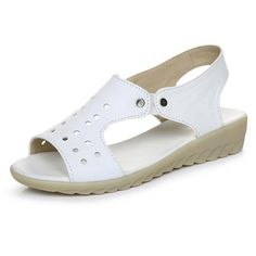 Women Sandals Split Leather Nurse Sandals Summer Shoes Cut-outs Wedges Cow Muscle Black White Women's Shoes Plus Size 34-43