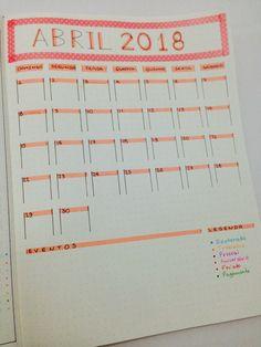 Bujo monthly spread | Month | April | Abril | Calendar | Bullet Journal