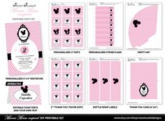 MINNIE Mouse Birthday Party Printable Set  by SweetScarletDesigns, $25.00
