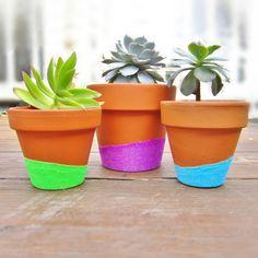 Zimmerpflanzen Blumentöpfe bemalen DIY Neonfarben Glitzern modern