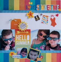 We Love Summertime - Scrapbook.com - Mix and match Simple Stories SN@P Summer and Summer Paradise collections on one layout.