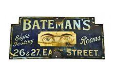 Early Original Bateman's Optometrist / Sight Testing Porcelain Sign