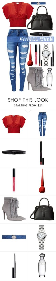 """""""Untitled #214"""" by samella-walters ❤ liked on Polyvore featuring Miss Selfridge, WithChic, Lauren Ralph Lauren, Huda Beauty, Christian Louboutin, Zimmermann, Nine West, Kenneth Jay Lane, Baume & Mercier and NARS Cosmetics"""