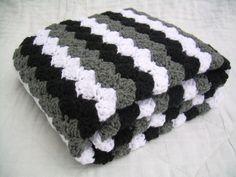 Crochet Grey Baby Blanket, black, white, and grey, crib size