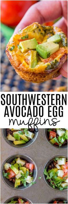 Southwestern Avocado Egg Muffins have all the delicious flavors of a southwestern omelet made in a muffin tin.