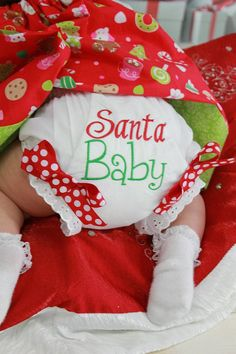 Santa Baby Diaper Cover Bloomers Christmas ...Sizes 0-6, 6-12, 12-18, 18-24 Months, 3T, 4T