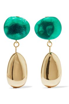 """Our creativity is still informed by our love of art, with curiosity and imagination at its core,"" say Dinosaur Designs founders Louise Olsen and Stephen Ormandy - the pair met at a gallery while studying the subject. These handmade drop earrings are strung with jade resin beads and polished gold-filled brass stones. Showcase yours with swept-back hair."