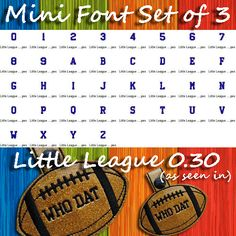 Mini Font SET of 3 - Includes THREE FULL Fonts!-These three mini fonts are a great pairing for your new TheBeanStitch designs! This listing is for three full alphabets (see below). These fonts have been designed and tested with marine vinyl. Embroidery Software, Embroidery Fonts, Machine Embroidery, Capital Alphabet, Dog Tags Military, Font Setting, Key Fobs, Music Notes, Messages