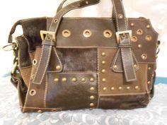 Brown Leather Patchwork Aqua Madonna Handbag Purse Shoulder BagTote. #AquaMadonna #ShoulderBag
