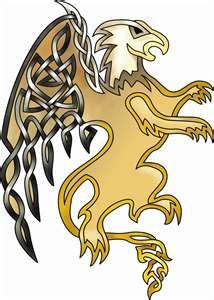 I love the celtic knots in the wings of this griffin.