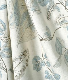 This kind of photo is genuinely a striking style philosophy. Linen Upholstery Fabric, Drapery Fabric, Fabric Decor, Blue And White Fabric, White Fabrics, Bedroom Drapes, Bedrooms, Aqua Bedding, Cloud Fabric