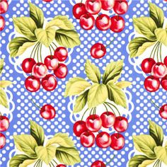 cherry yellow retro Fabric vintage