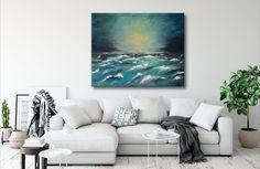 "Original acrylic on canvas home or office wall decor, ready to hang wall artwork. Size: 60x70 cm / 24""x28"". #art #paintings #abstract #acrylic #modern #original #wall #decor #gift #homedecor #abstractpainting #originalpainting #acrylicpainting #canvaspainting #housewarminggift #livingroomwallart #contemporaryart #wallartwork #landscape #seascapepainting #bluepainting #turqoise #sunsetseascape Seascape Paintings, Oil Painting On Canvas, Art Paintings, Light Painting, Canvas Artwork, Art Original, Original Paintings, Silhouette Painting, Office Wall Decor"