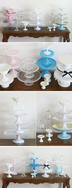 New wedding table diy decorations dollar stores cupcake stands Ideas Cake And Cupcake Stand, Cupcake Display, Cake Stands Diy, Vintage Cake Stands, Food Stands, Wedding Table, Diy Wedding, Wedding Cakes, Wedding Reception