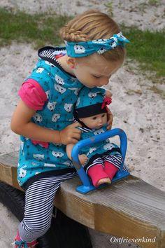Lybstes. Puppenset mit Pumphose, Beanie und Kapuzenshirt als FREEBOOK! Puppenkleidung selber nähen