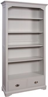 Lowa Painted Grey & Oak Country Style Large Bookcase With Two Drawers