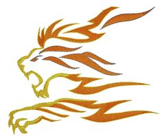 King Graphics Embroidery Design: Lion Flame 3.30 inches H x 3.90 inches W