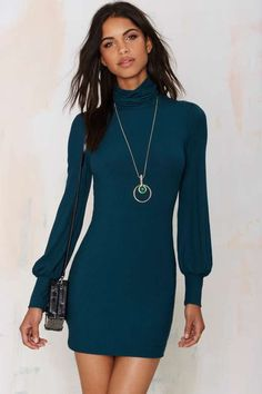 Nasty Gal Somebody to Love Ribbed Turtleneck Dress - Sale