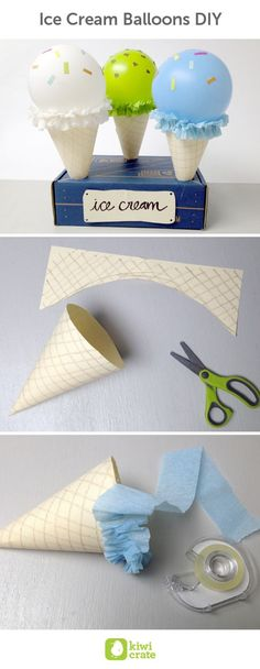 Ice Cream Balloons DIY. Everyone loves ice cream! Try out this simple DIY project for birthday party decor, or for fun ice cream parlor play. With a balloon and some paper, you can create any flavor of ice cream imaginable. Plus, it will never turn into a sticky, melted mess. Kids. Summer. Boredom Busters. Recipes. Food. Birthday. Party. Ideas.