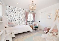 More than a little obsessed with this butterfly wallpaper? Hit the to read all about how our designer created this… Cozy Bedroom, Girls Bedroom, Bedroom Decor, Bedrooms, Playroom Furniture, Kids Furniture, Whimsical Nursery, Glam Living Room, Kids Decor