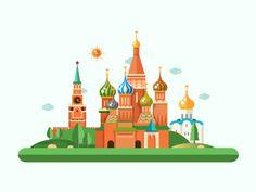 Moscow Kremlin - Flat Design Illustration by Ilya Boyko #Design Popular #Dribbble #shots