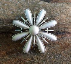 White Flower Brooch signed Sarah Cov Snow Blossom by PassingTides