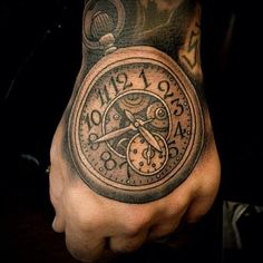 clock on hand - 40 Awesome Watch Tattoo Designs  <3 !