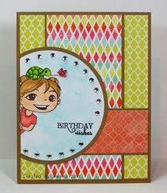 birthday wishes featuring stamped image from @?? ? Fumi Handmade , sentiment from @Vanessa Jacky-Davis Stamps , patterned papers from #mymindseyeinc