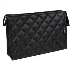 Rosallini Women Black Grid Pattern Rectangle Travel Case Makeup Zipper Bag. View website for more description.