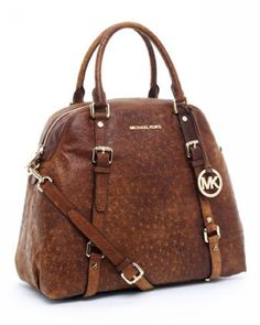 Michael Kors Bedford Extra Large Bowling Satchel Mocha Ostrich :