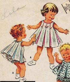 McCall's 2049 50s Toddler's DRESS or SMOCK & Ruffled PANTIES Vintage Sewing Pattern