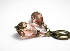 Peach Czech Glass Vintage Style Dangle Earrings by jewelrybyNaLa, $24.25