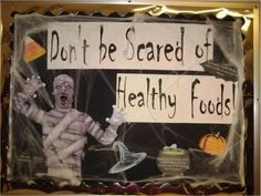 scary scene for this October bulletin board. Information on healthy . scary scene for this October bulletin board. Information on healthy . Cafeteria Bulletin Boards, Nurse Bulletin Board, October Bulletin Boards, Science Bulletin Boards, Halloween Bulletin Boards, Sport Nutrition, Kids Nutrition, Healthy Nutrition, Nutrition Pyramid