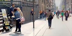 Testigos de Jehová predicando en una zona densamente poblada