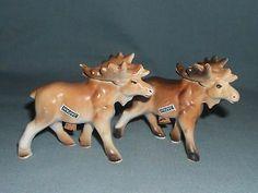 Vintage NOS Porcelain Walking Moose Salt & Pepper Shaker Set New In Box