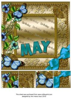 May Glory Gold Birthday 8inch Picture Sheet - CUP169362_10 | Craftsuprint