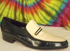 9.5 D mens vTG 70's green & white FLORSSHEIM patent leather disco loafers shoes #Florsheim #DressFormal