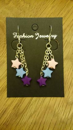 Buy at: https://www.etsy.com/uk/shop/KinleysDesigns  #stars #earrings #chain #pink #blue #purple #pastel #colourful #jewelry #girly #accessories