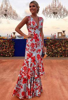Floral Plunge Ruffles Layered Hem Evening Dress in 2020 Lovely Dresses, Elegant Dresses, Formal Dresses, Dresses Dresses, Dress Outfits, Fashion Dresses, Evening Dresses, Summer Dresses, Mein Style