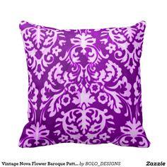Vintage Nova Flower Baroque Pattern Throw Pillow