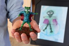 """Monster therapy: Artist, pediatric cancer patients team up to craft creatures: There are the monsters in our imaginations, lurking in the shadows and haunting our dreams. But for children facing cancer, those monsters can be all too real. Painter/sculptor Kent Caldwell is helping the kids take control by using their designs to create 3D printed figurines that will be featured in the upcoming exhibit """"Forest Monsters"""" at the Sahara West Library."""