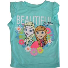 """Cartoon inspired prints are a popular trend for children as shown by this Disney licensed tee. The turquoise flutter sleeved T-shirt has Frozen characters Elsa and Anna """"Beautiful Sisters"""" with floral accents graphics illustrated. She can pair it with a t"""