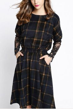 Navy Check Lace Sleeve Dress from mobile - US$37.95 -YOINS