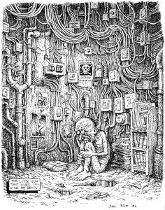 """The little guy inside my brain (1986) #Crumb's father refused to talk to him for several years after seeing some of his raunchier stuff. And one of his sisters once broke a banjo over his head to protest sexism in his work. Cops and judges have been only slightly kinder. They never assaulted the artist; they just banned his works. """"To say this is art is ridiculous,"""" said a Maryland judge who ruled a Crumb cartoon obscene in 1970. """"It is a piece of #trash."""""""
