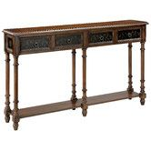 """Found it at Wayfair - Double Console Table Only 11"""" wide would fit under TV in Master Bedroom..."""
