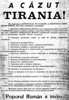 The Proclamation of the Romanian Democratic Front, December Timisoara Romanian Revolution, Liberation Day, Brasov Romania, The Proclamation, Warsaw Pact, Politics, Writing, December, Communism