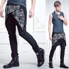Black Embroidered Hipster Fashion Dress Pants Trousers for Men SKU-156008